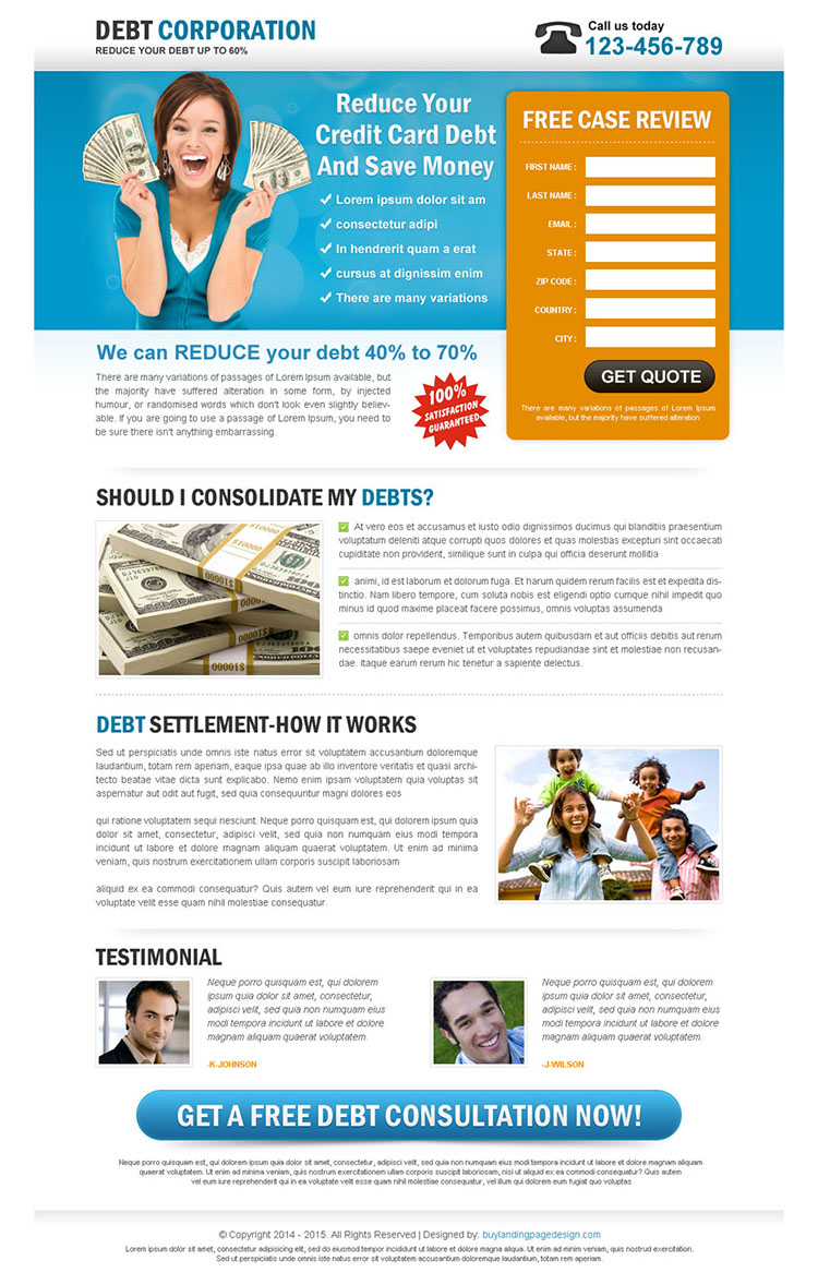 reduce your credit card debt free review lead capture landing page design