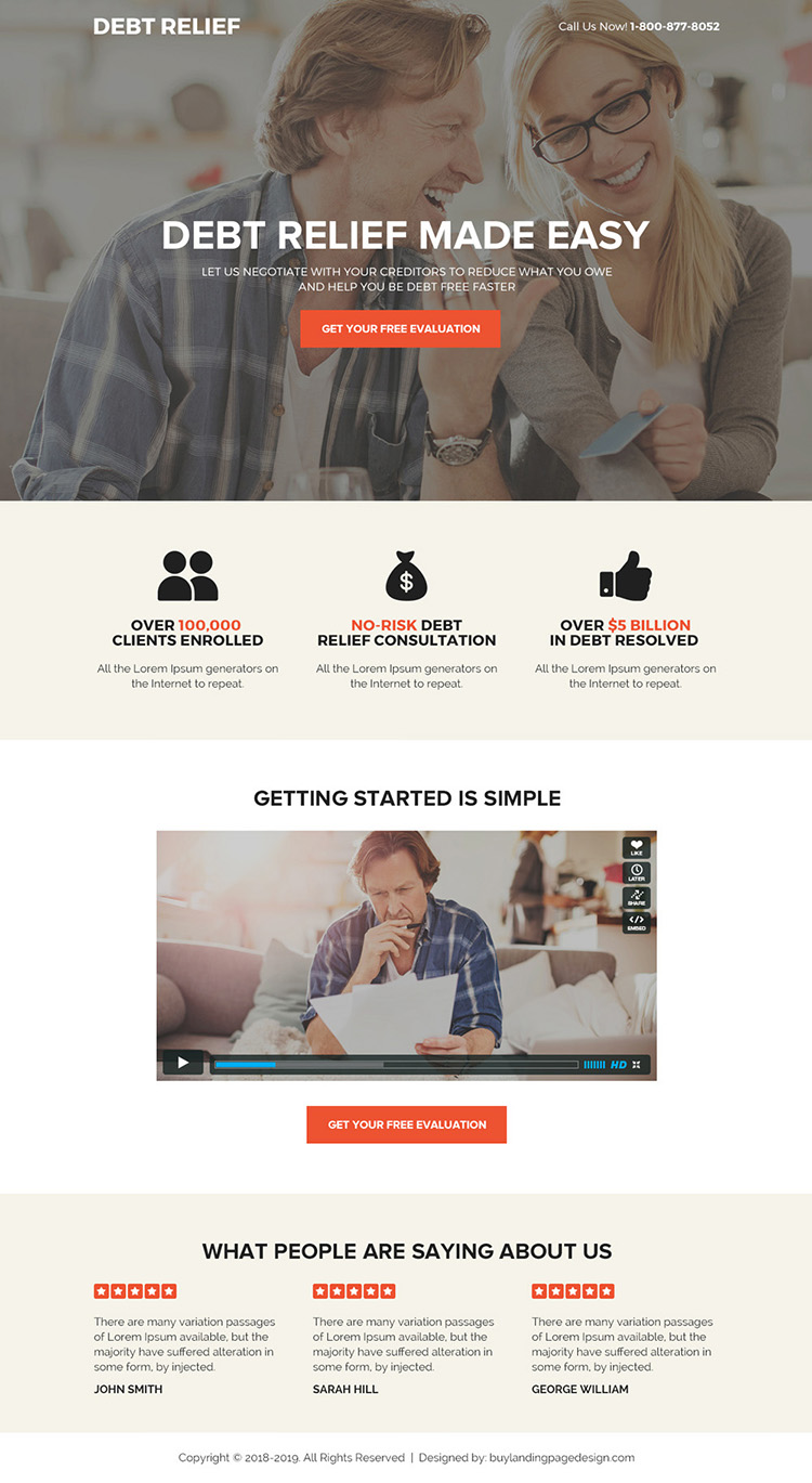 best debt relief solution bootstrap landing page design