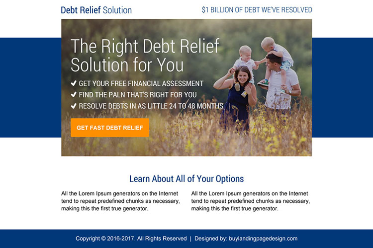 best debt relief solution ppv landing page design