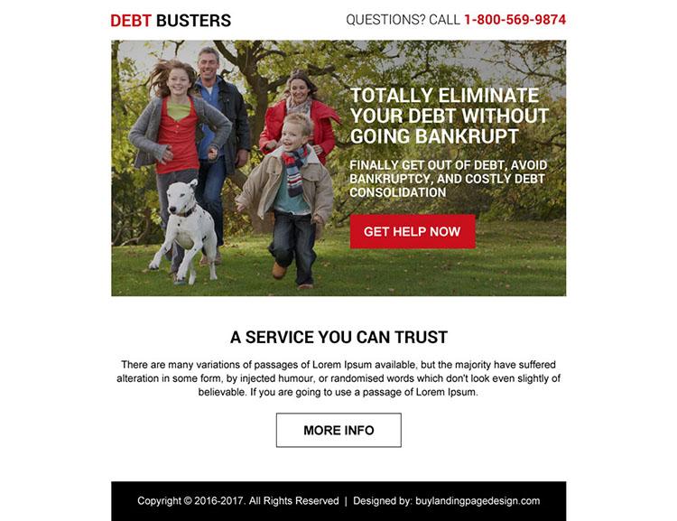 best debt service online ppv landing page design