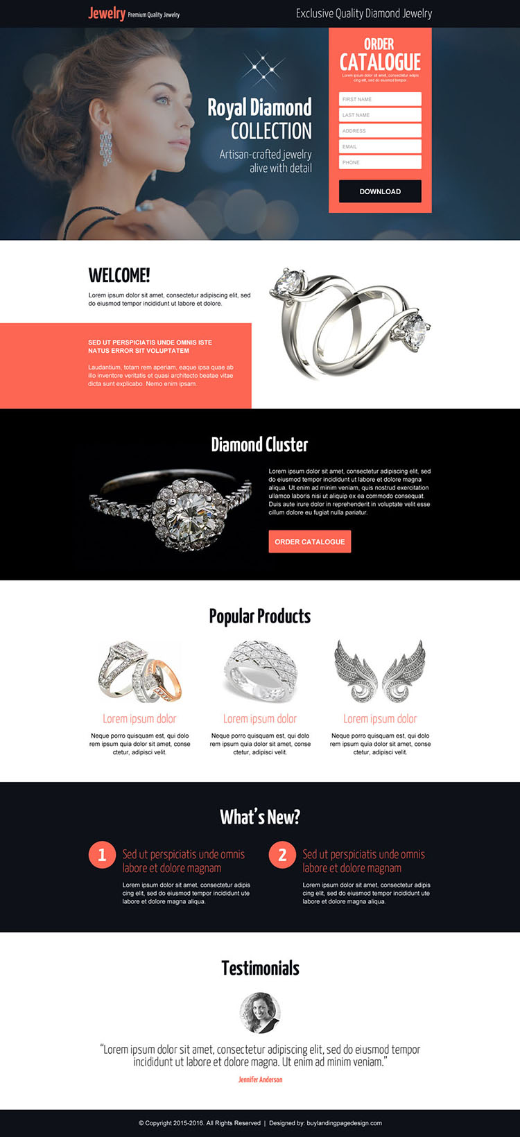 responsive best diamond jewelry landing page design