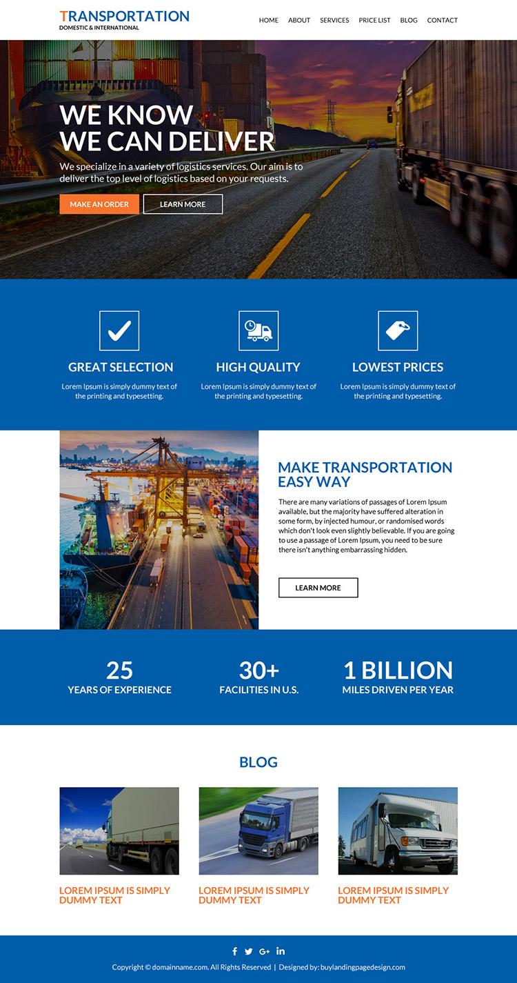 best transportation service responsive website design