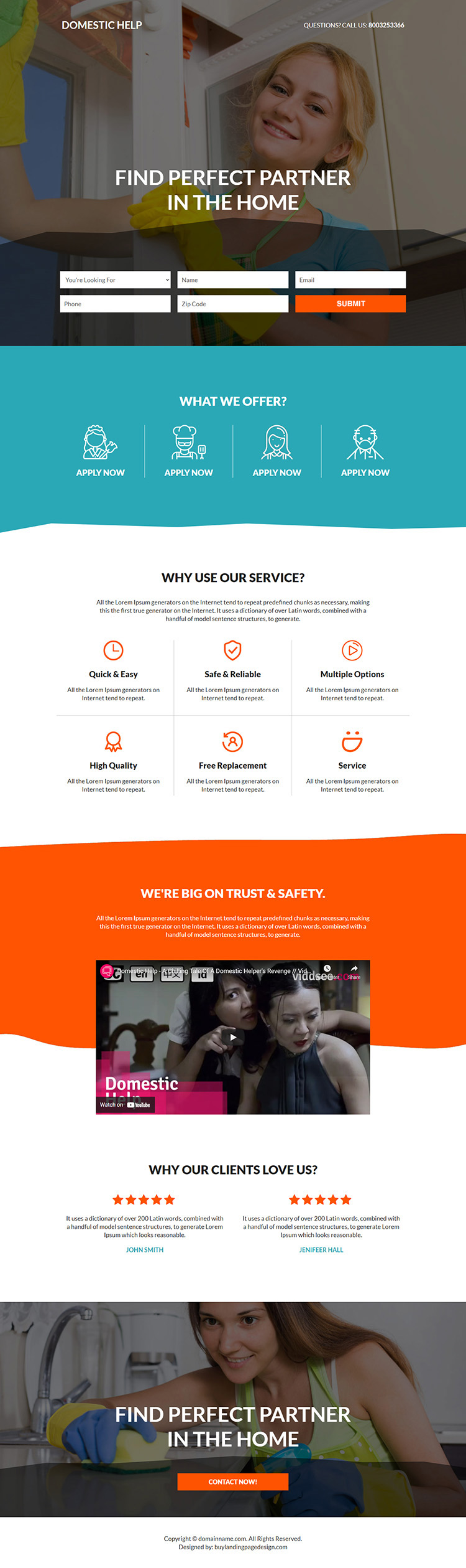 best domestic help service responsive landing page design
