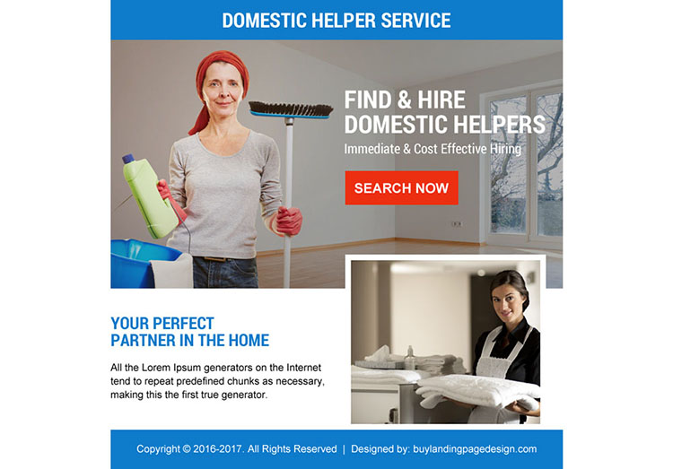 best domestic help service ppv landing page design