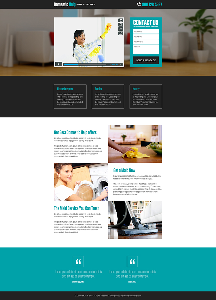 domestic help service responsive video landing page design