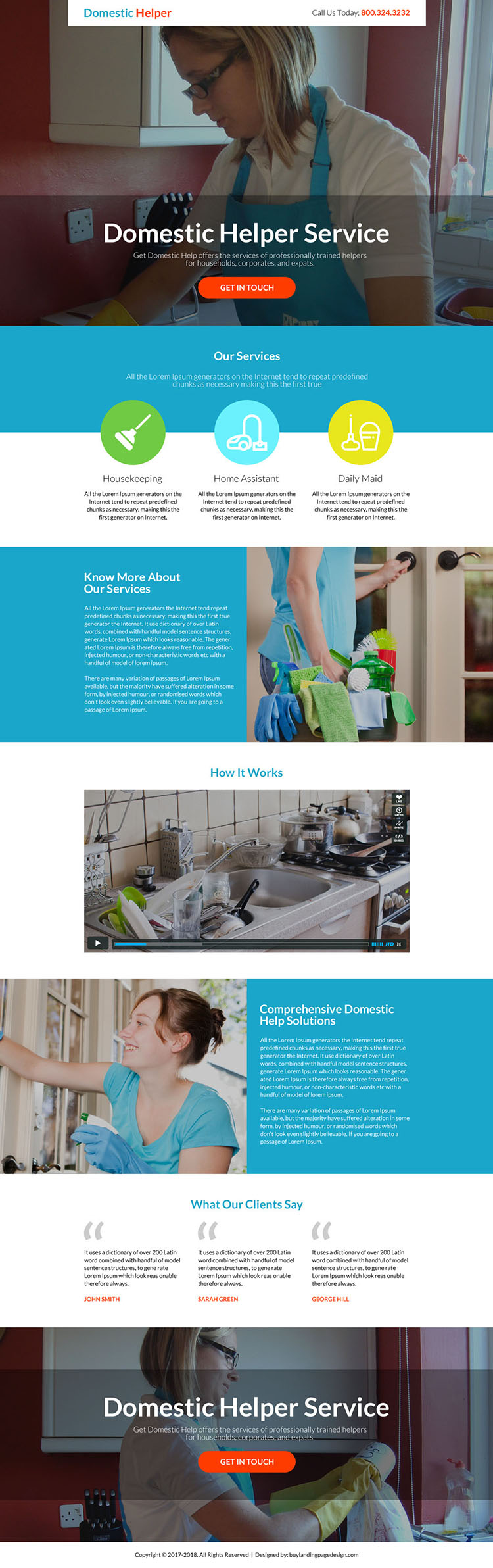 best domestic helper service responsive landing page