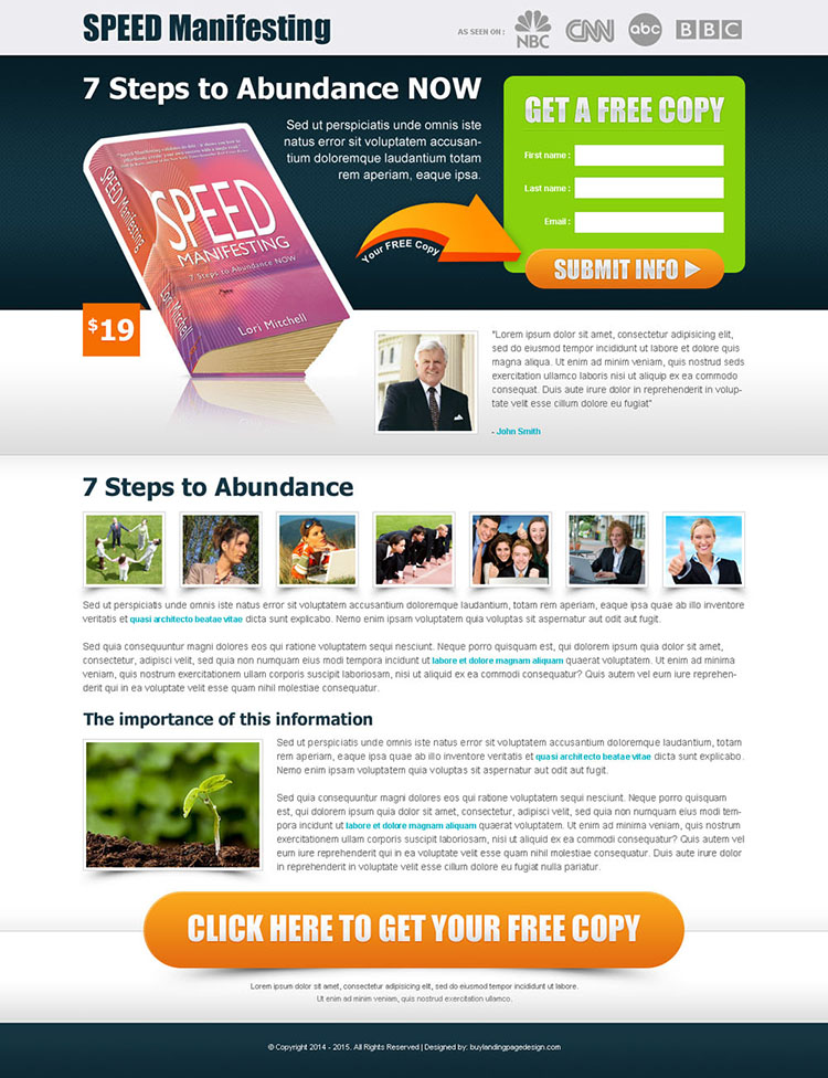 speed manifesting free copy of ebook landing page