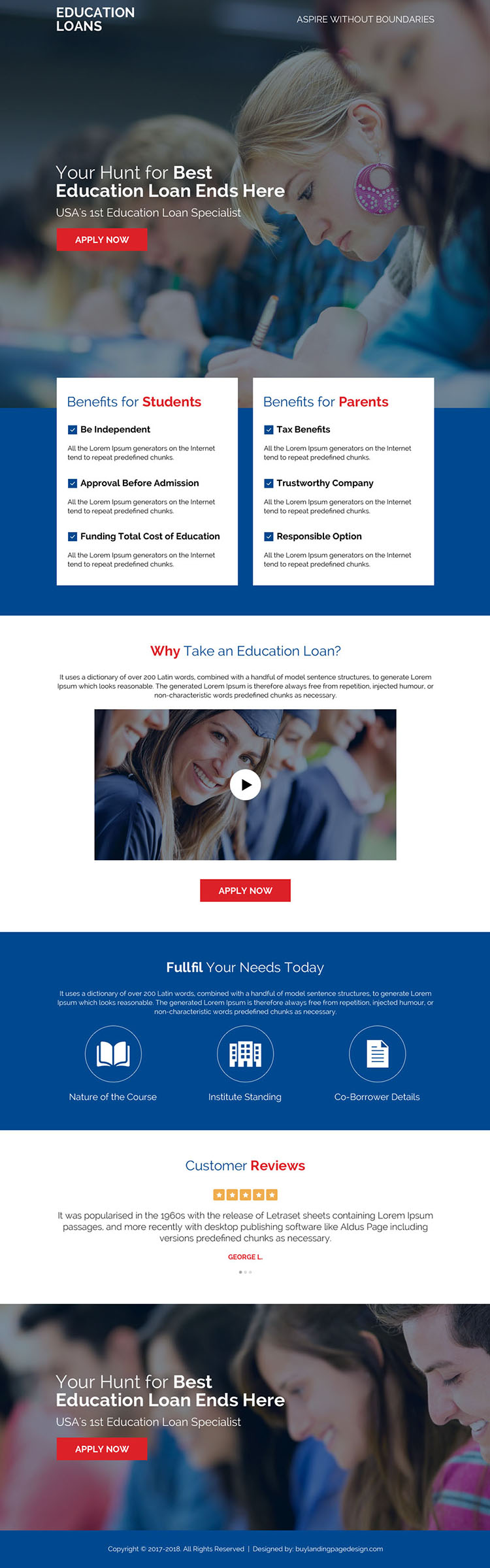 best education loan online application landing page design