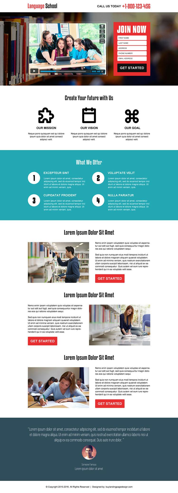 best education video responsive converting landing page design