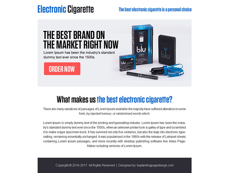 best electronic cigarette call to action ppv landing page design