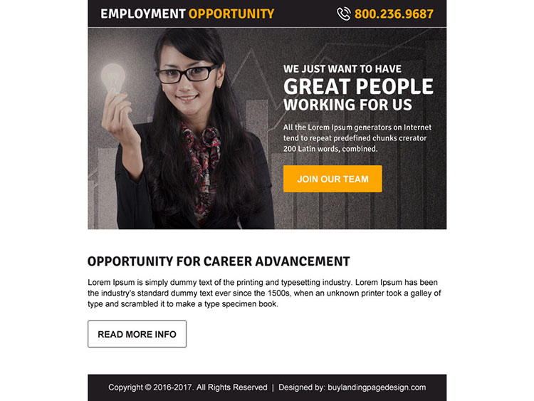 best employment opportunity ppv landing page design