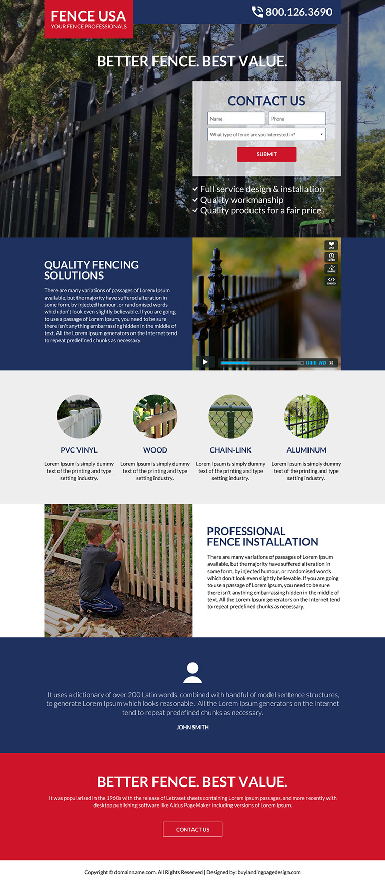 quality fencing solutions bootstrap landing page design