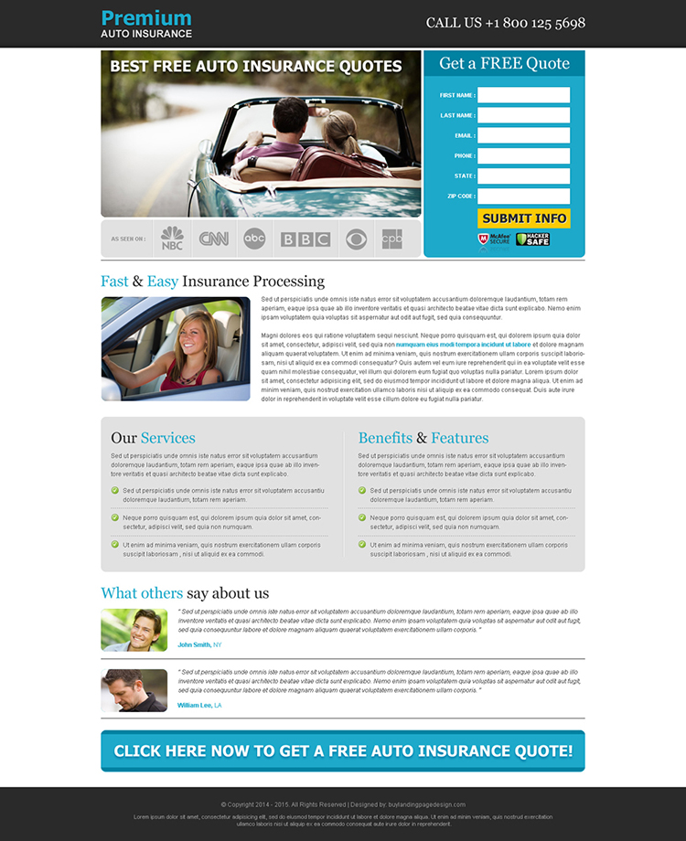 best free auto insurance quotes effective lead capture landing page
