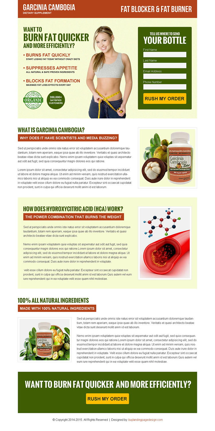 top converting garcinia cambogia lead generating landing page design template