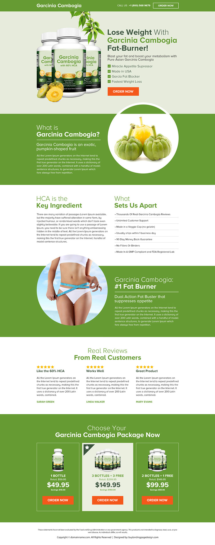pure asian garcinia cambogia product selling landing page