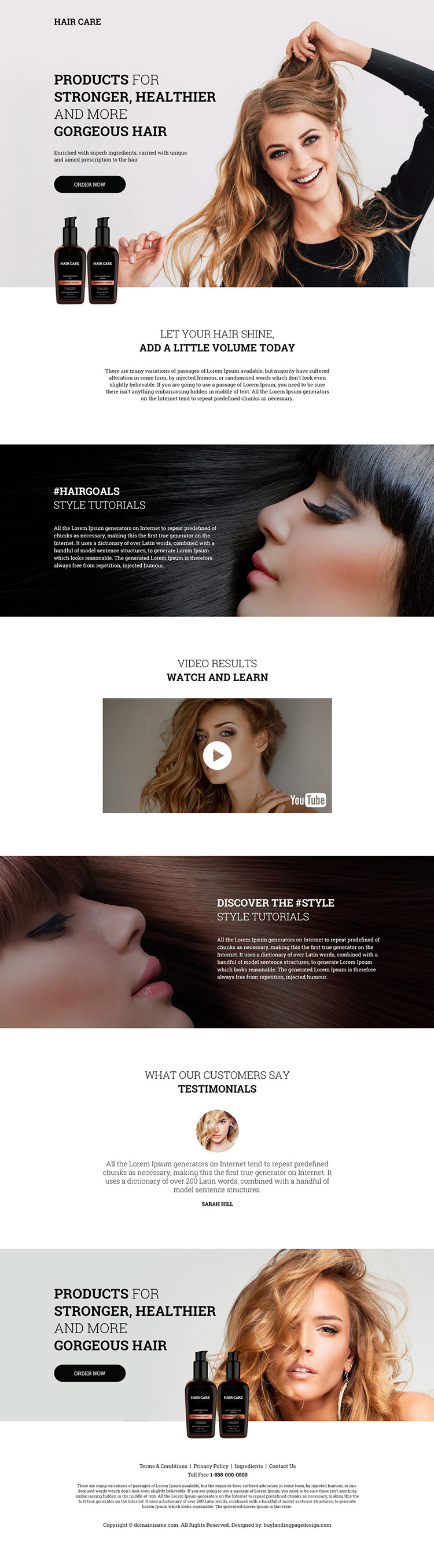 hair care products selling responsive landing page design