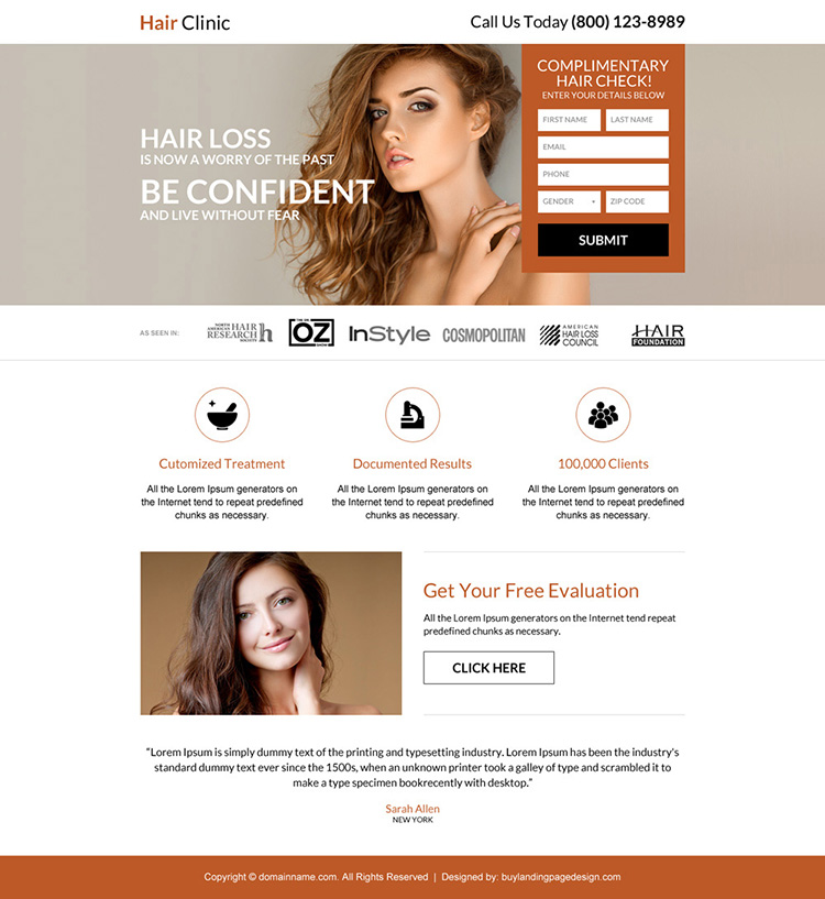 responsive hair clinic free complimentary hair checkup landing page