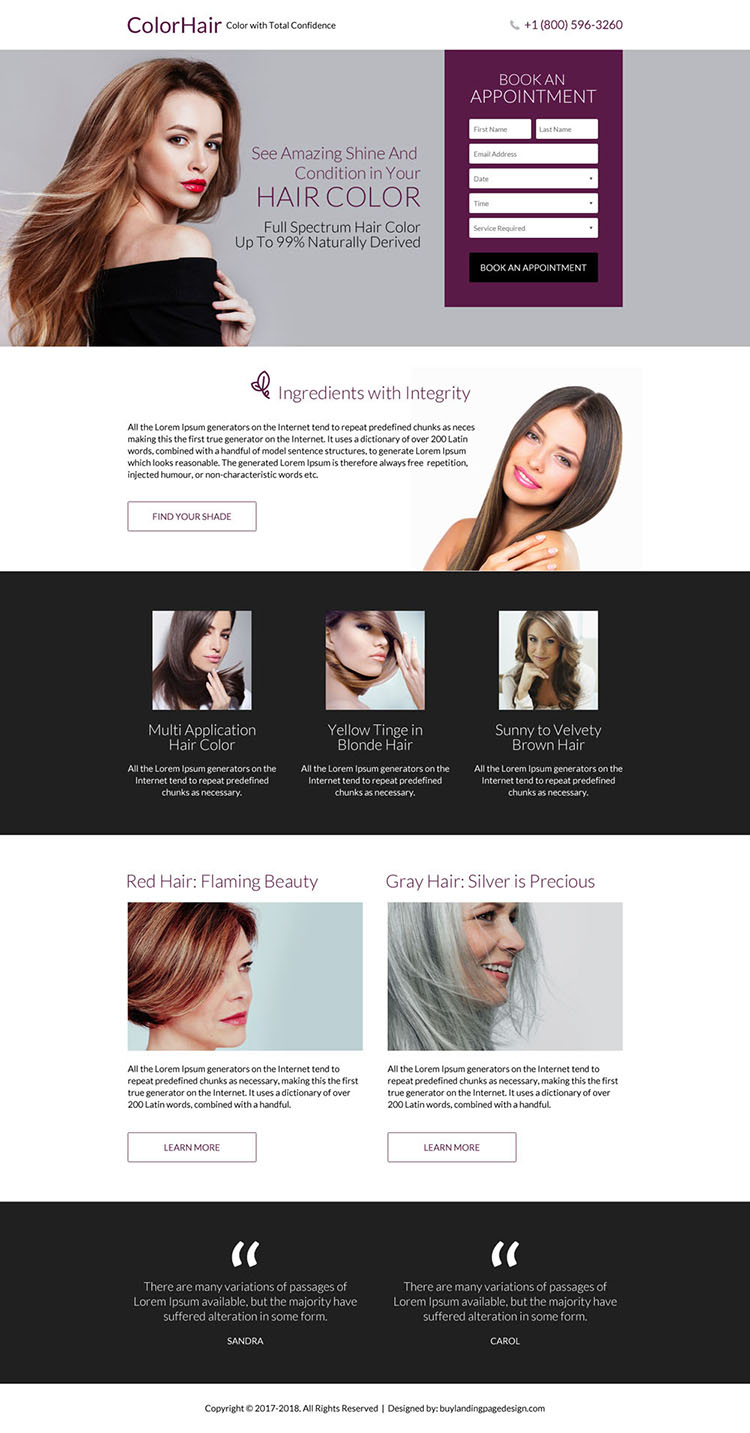 responsive hair coloring service landing page design