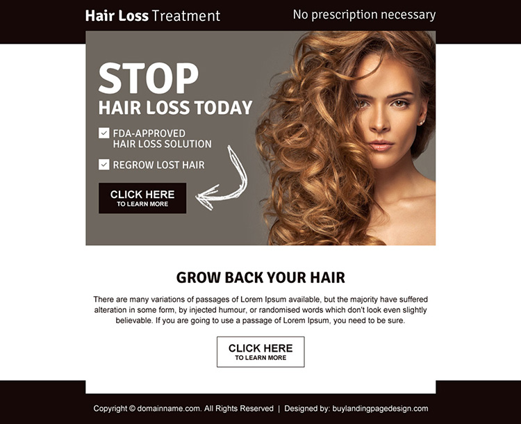 best hair loss ppv landing page design