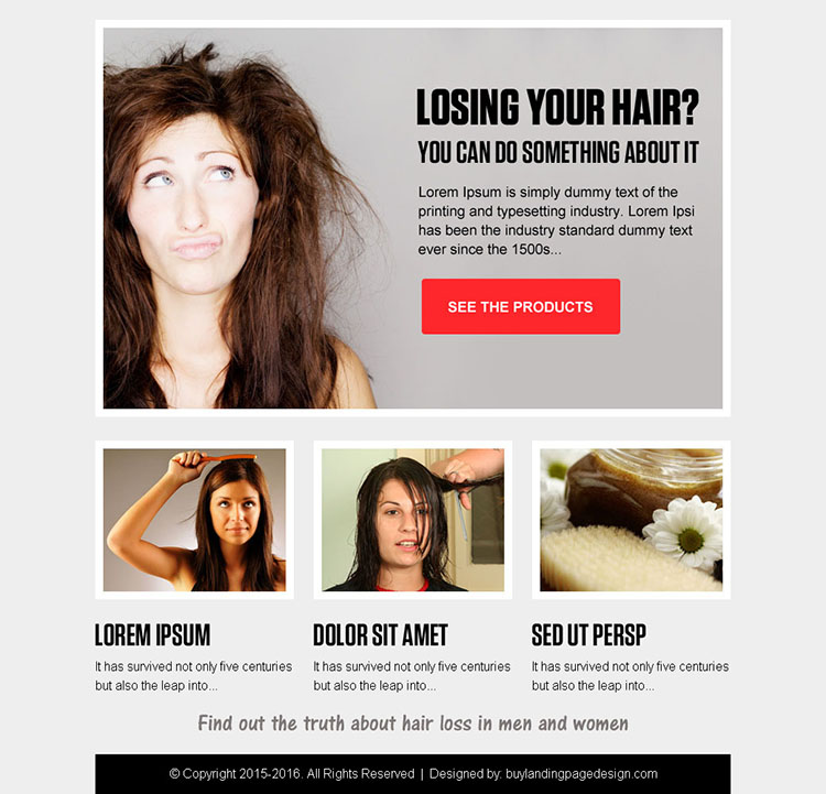 best hair loss product call to action ppv landing page design