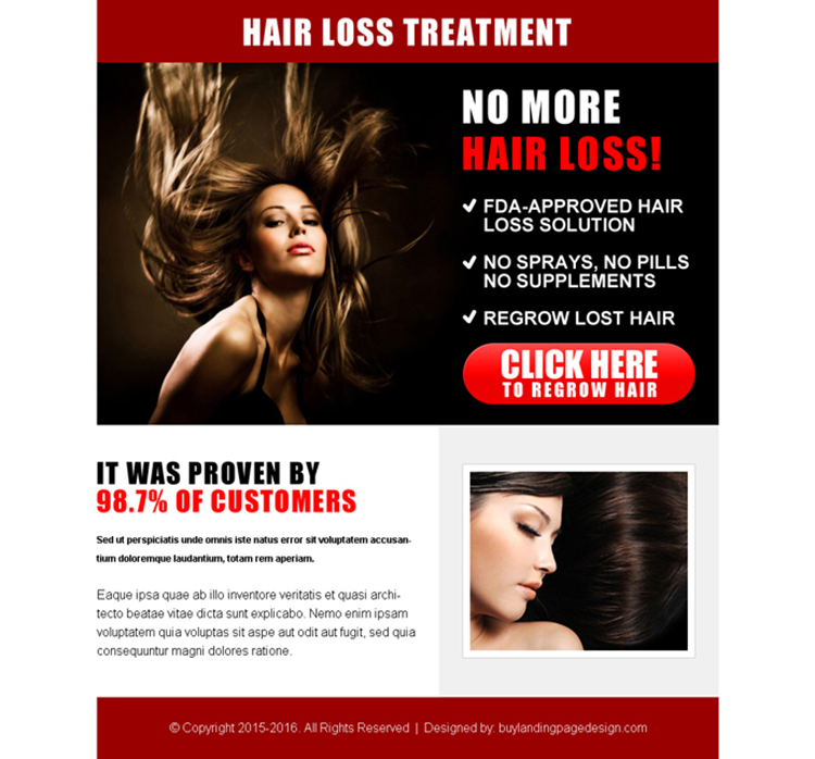 best hair loss treatment cta ppv landing page design