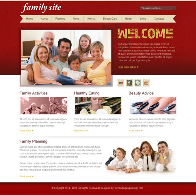 attractive and informative best happy family website template design psd for creating your beautiful website
