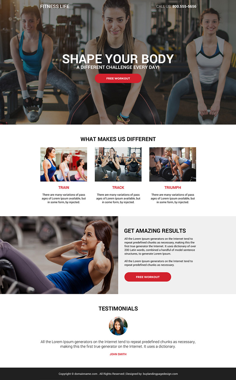 best health and fitness life responsive landing page design