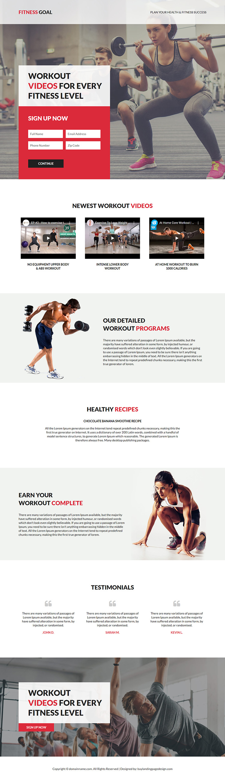 health and fitness success responsive  landing page design