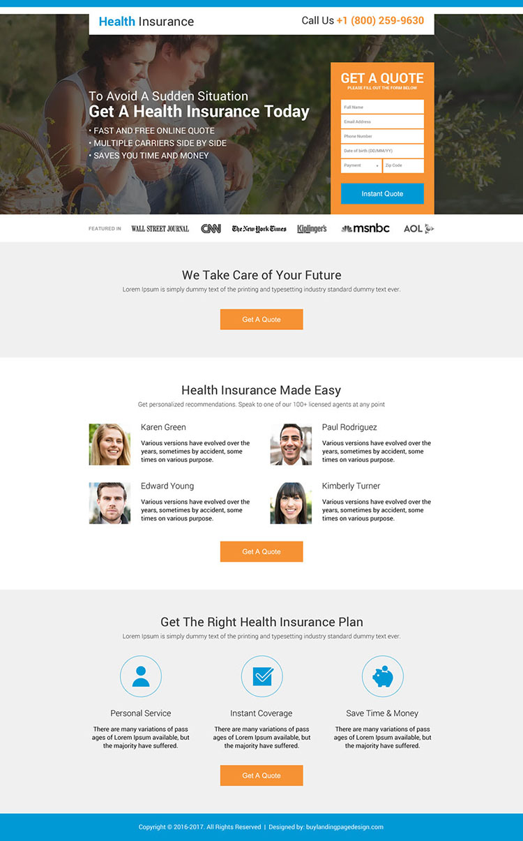 health insurance instant coverage landing page design