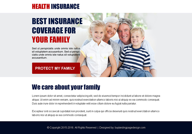 best health insurance coverage ppv landing page design