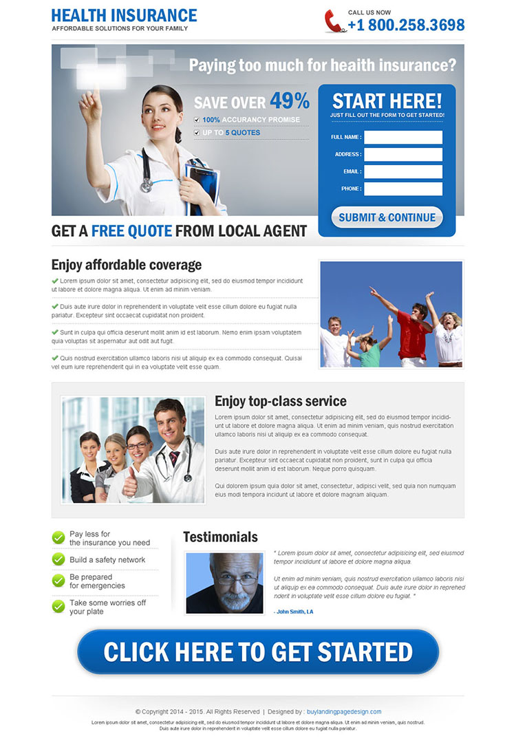 clean health insurance free quote lead capture landing page