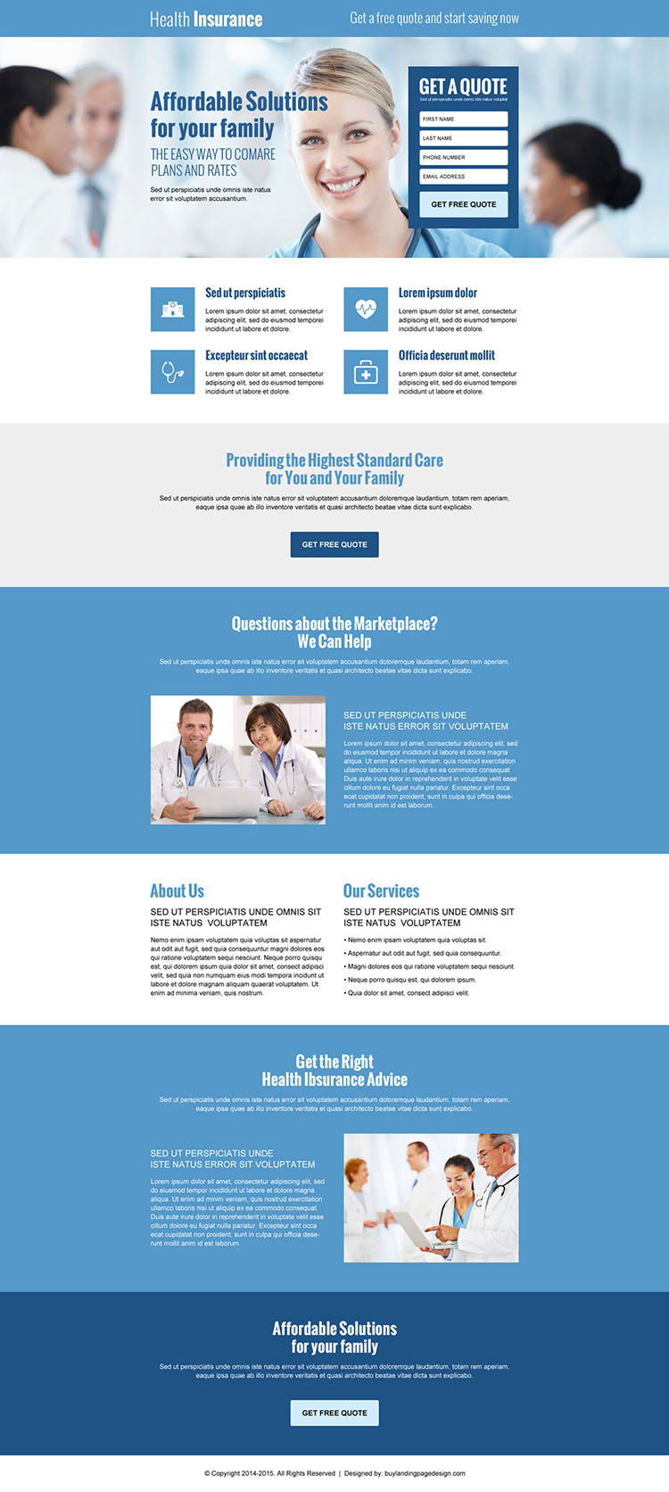 best health insurance lead gen responsive landing page design