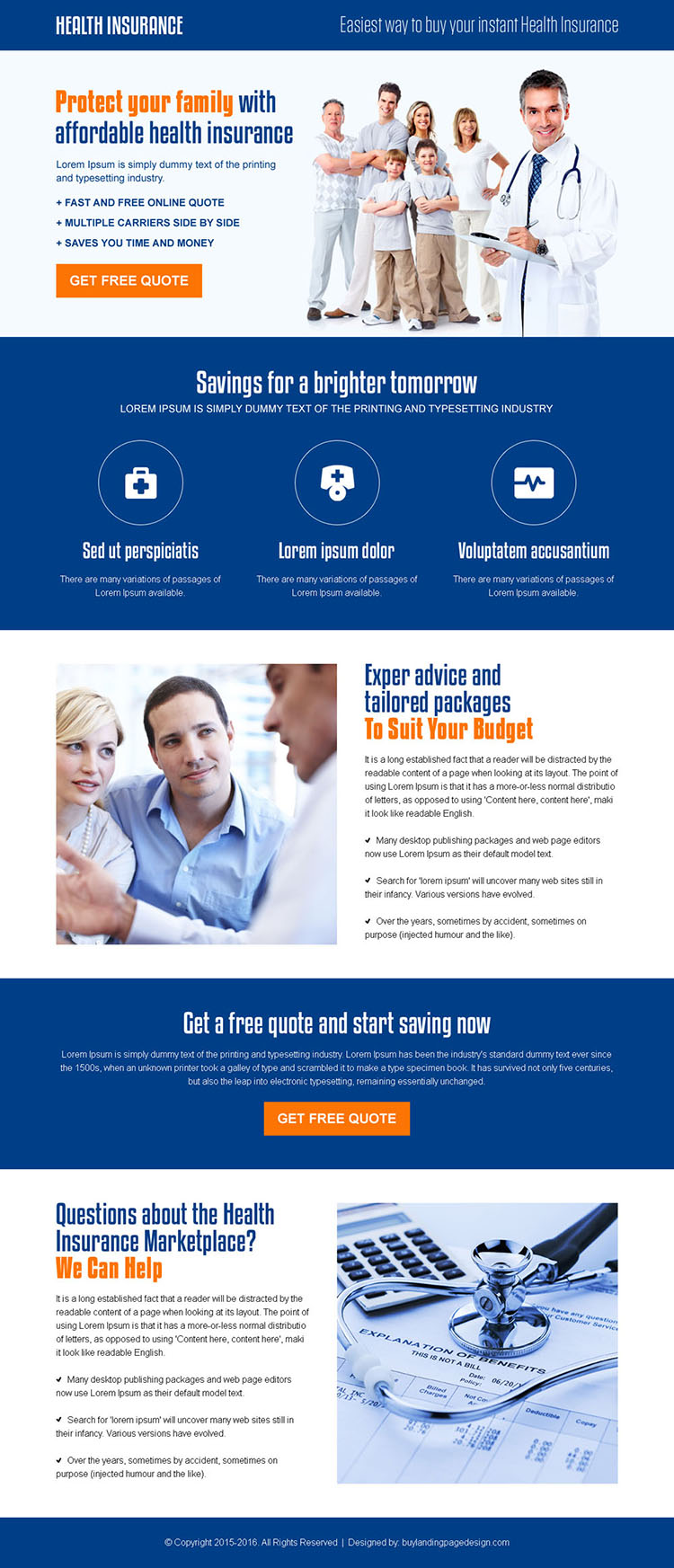 best family insurance call to action landing page design template