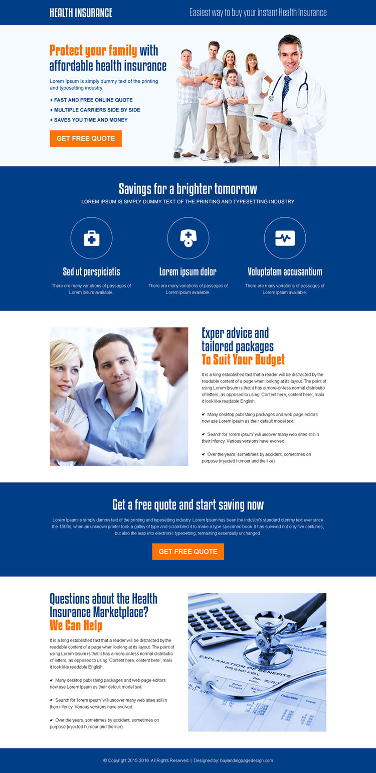 best health insurance for family responsive landing page design