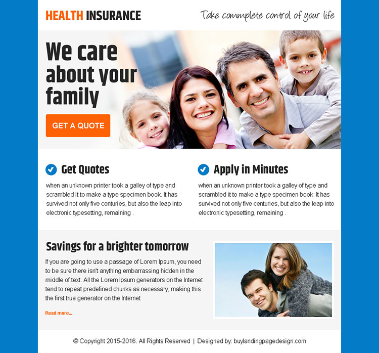 best health insurance ppv landing page design for sale