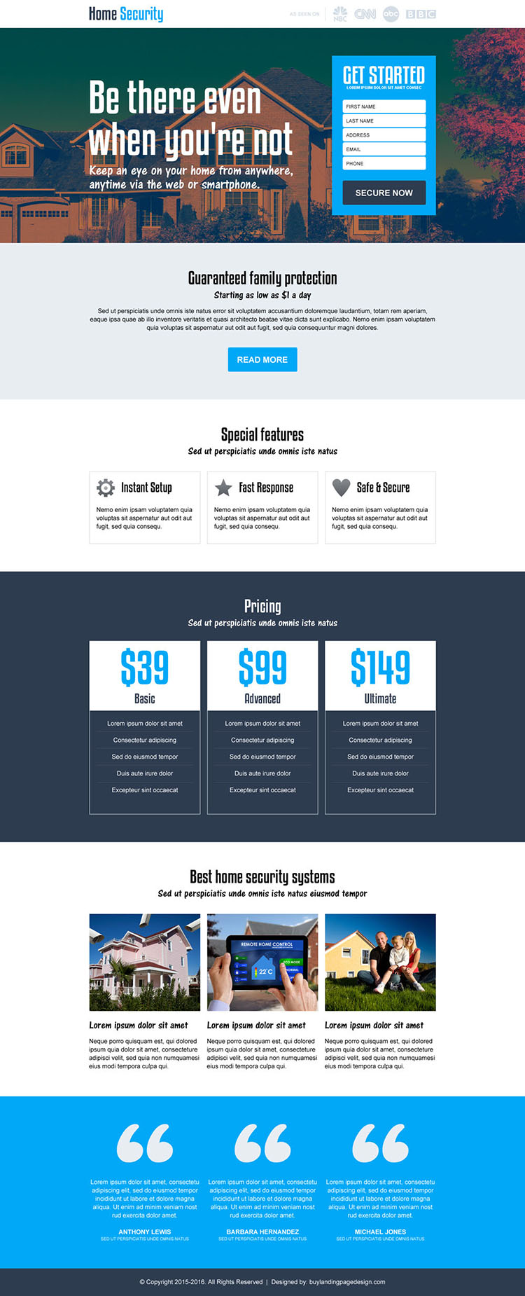 best home security services responsive landing page design