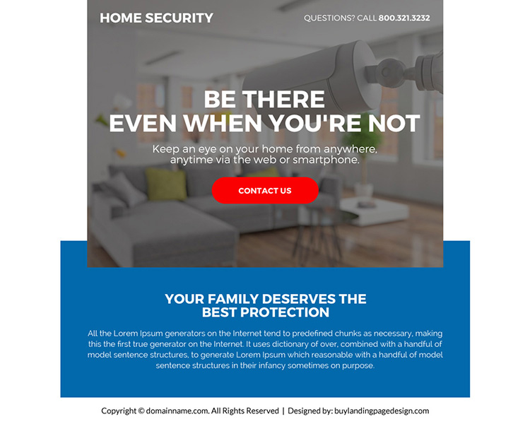 best home security call to action ppv landing page