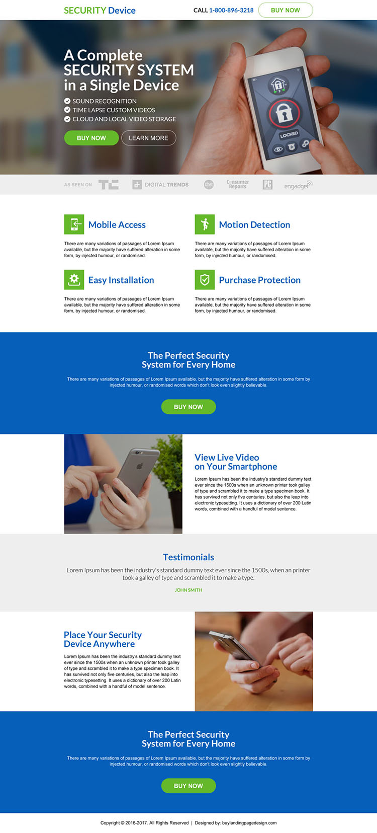 responsive security device selling landing page design