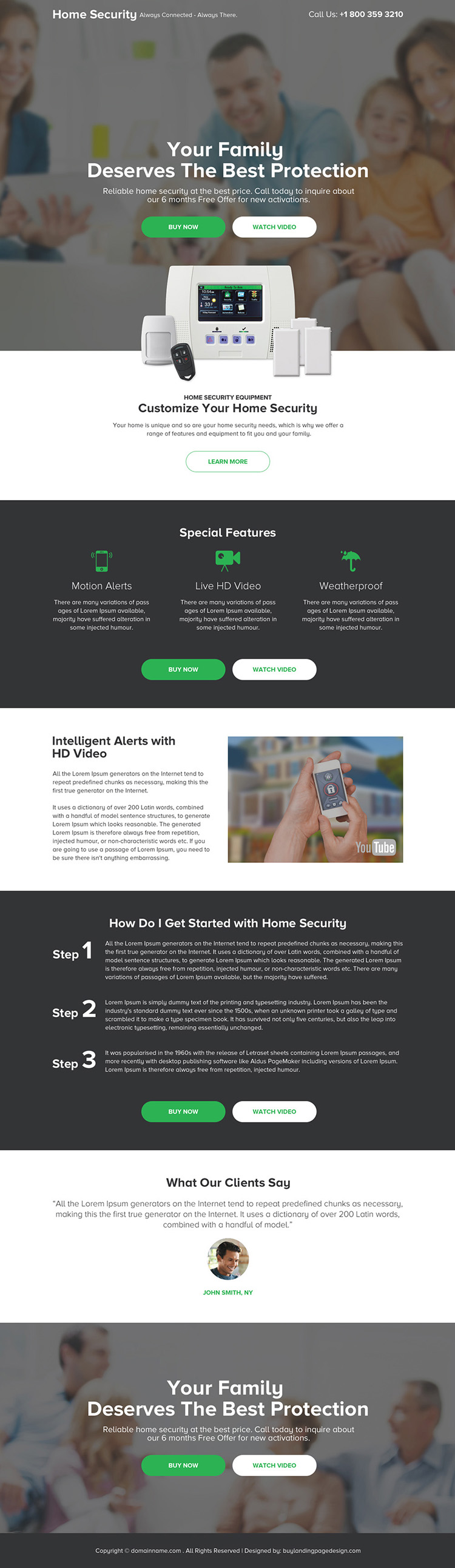 best home security device selling responsive landing page design