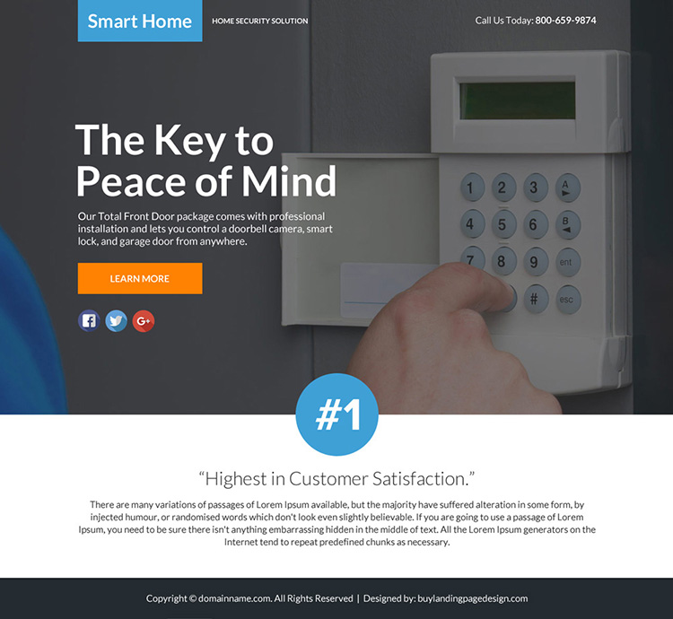 best home security lead funnel responsive landing page