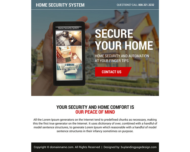 best home security system ppv landing page design