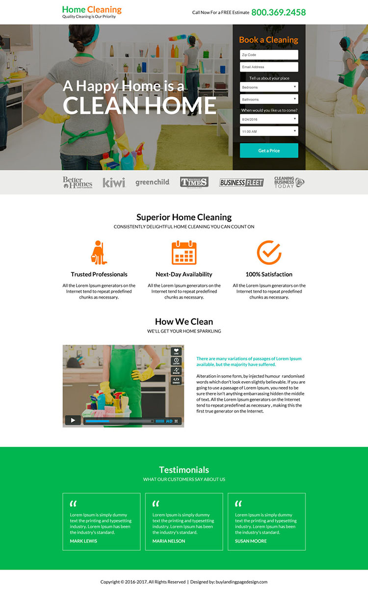 superior home cleaning service responsive landing page design