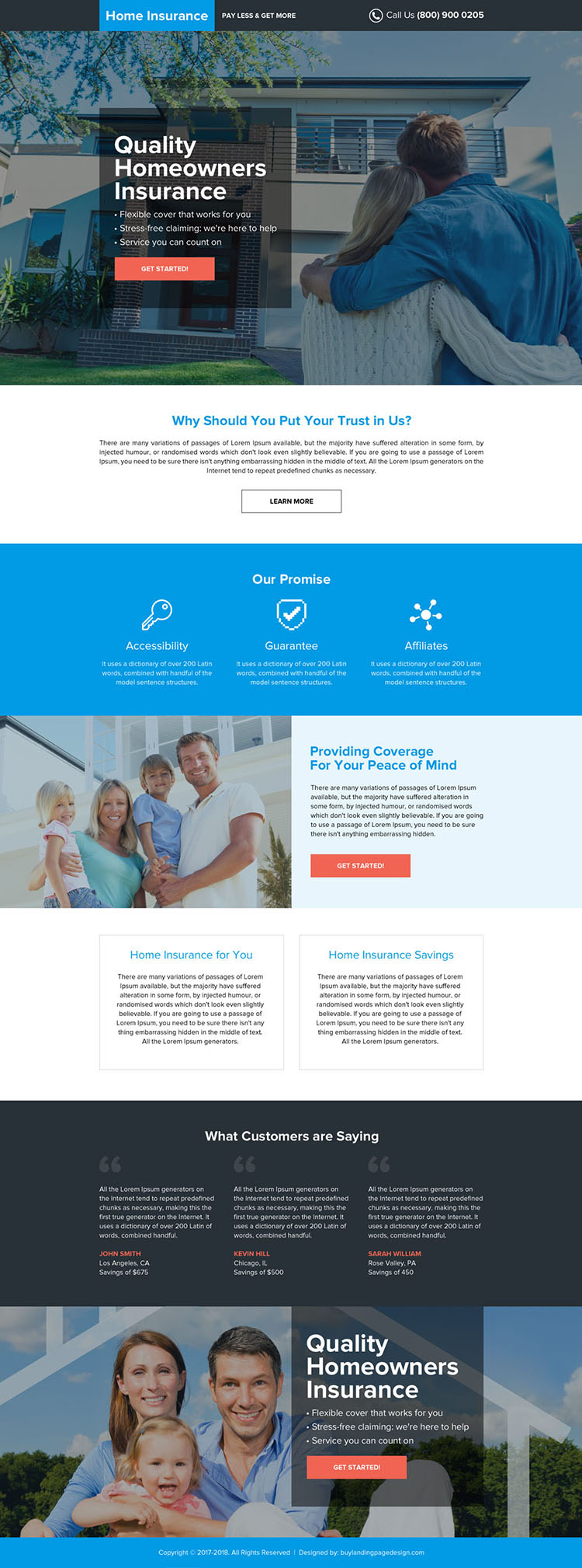 quality home owners insurance professional landing page design