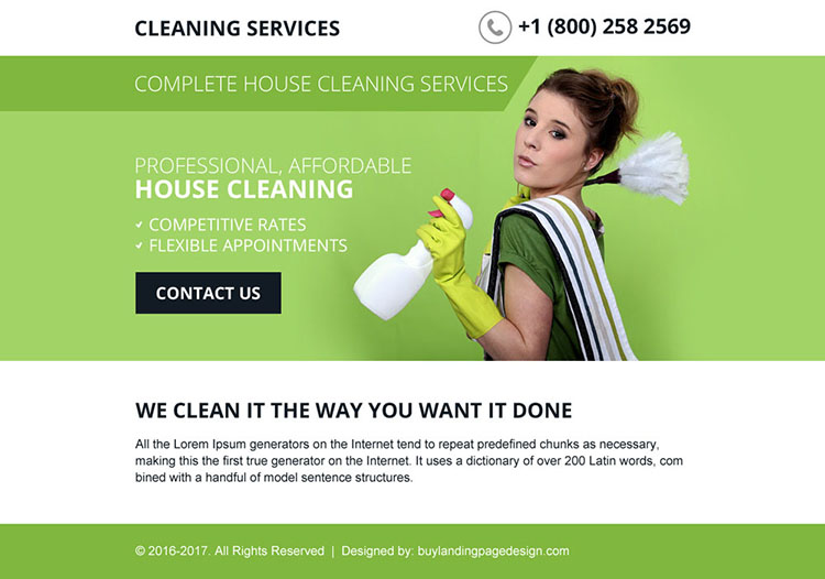 best house cleaning services ppv landing page design