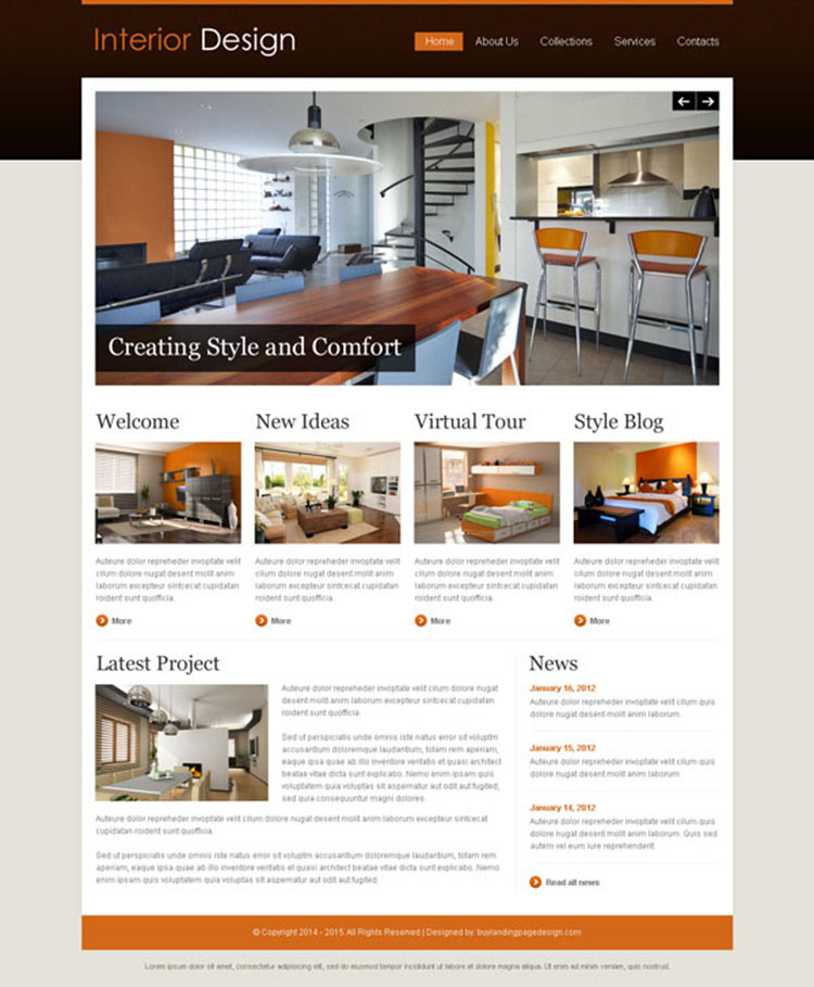 interior design attractive and appealing website template design psd
