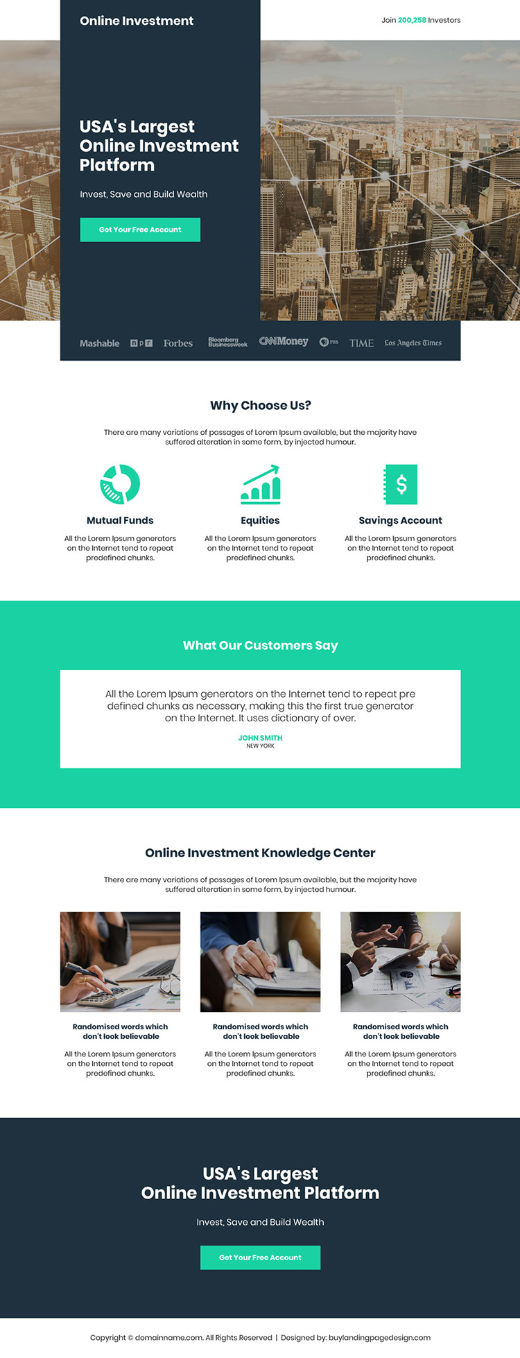 largest online investment platform free account sign up landing page