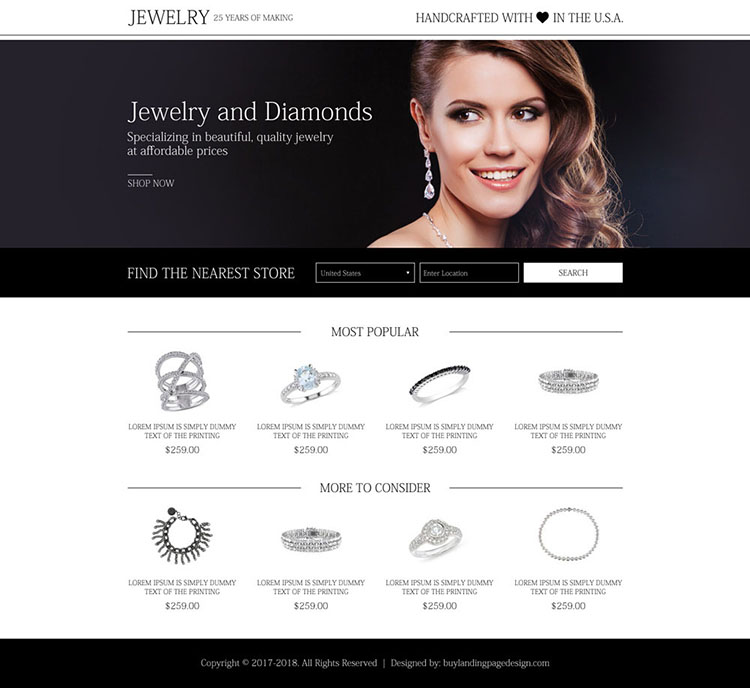 best jewelry and diamond store mini landing page