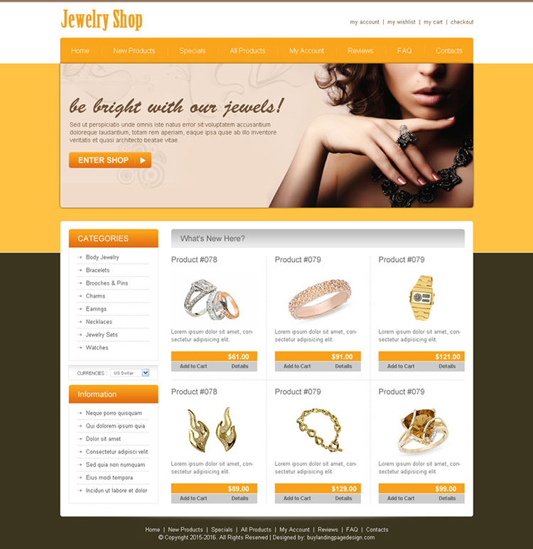 best jewelry shop online store website template design psd