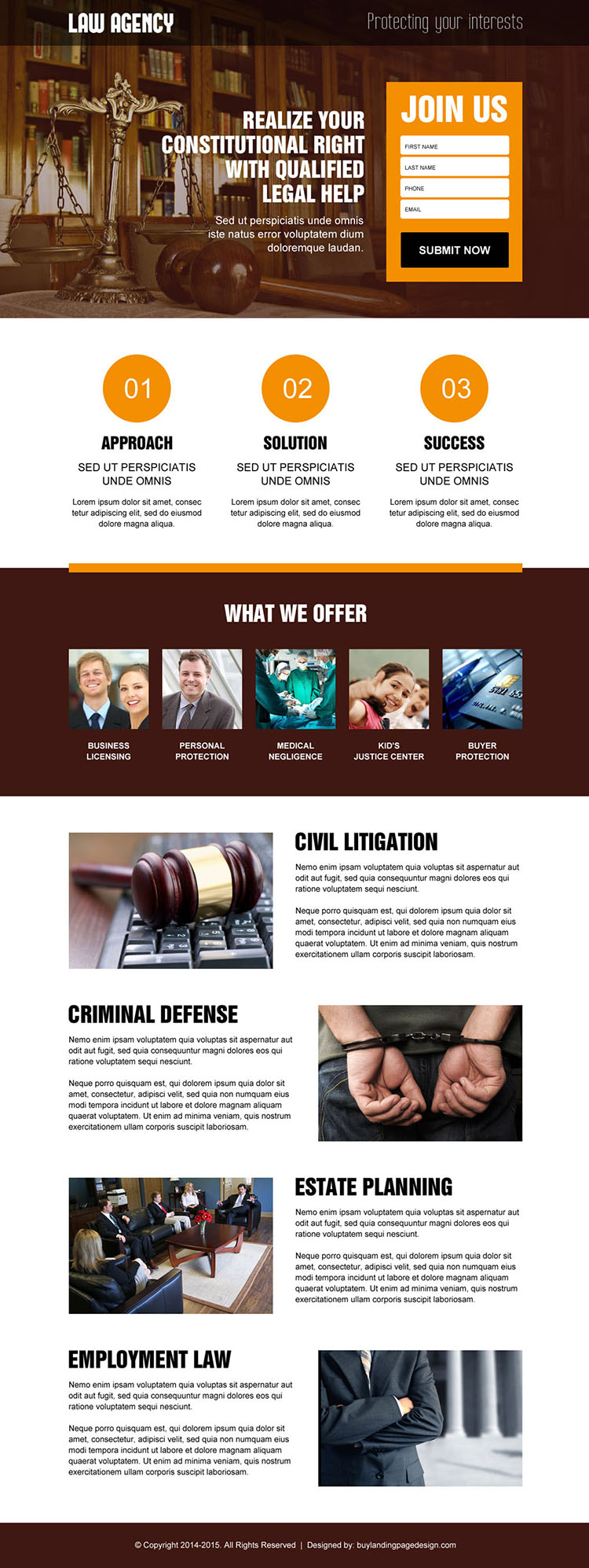 best law agency responsive landing page design for legal help