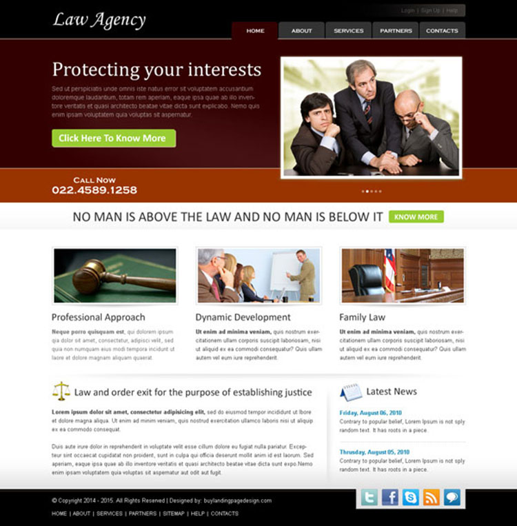 best law agency website template design psd